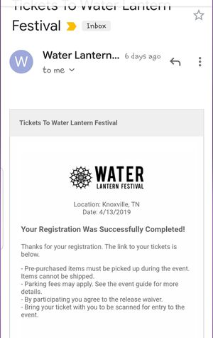 Water lantern festival ticket for Sale in Jefferson City, TN