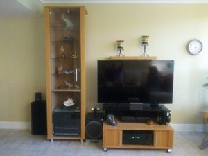 Scan Style TV base, Doored glass cabinet and floating shelf for Sale in Fort Lauderdale, FL