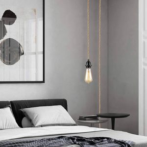 Pendant Light Cord, Hanging Light Kit with Switch Plug in, 15FT Hemp Rope Cord Hang Lamp, Industrial Vintage Pendant Light Socket Set E26 E27, Pendan for Sale in Upland, CA