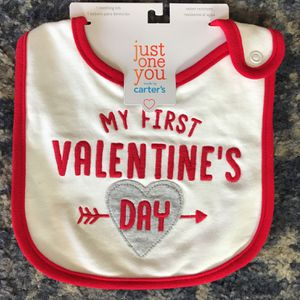 CARTERS MY FIRST VALENTINES DAY BABY BIB for Sale in Rialto, CA