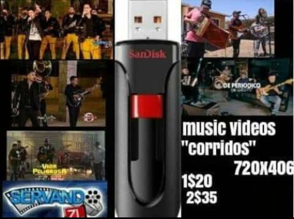 Music and music videos in usb flash drive 16 gig