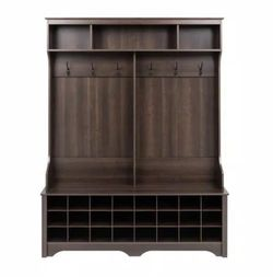 Prepac 60 in. Espresso Wide Hall Tree with 24 Shoe Cubbies for Sale in Umatilla,  FL