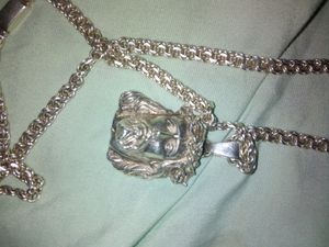Hand made solid Jesus pendant and chain for Sale in Lincoln Acres, CA