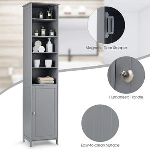 New in box.72 Inches Tall Cabinet, Bathroom Free Standing Tower Cabinet with Adjustable Shelves Cupboard Door Space Saving Cabinet Organizer (Gray) for Sale in Auburn, WA