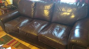Chocolate Brown Leather Studded Pull-Out Sofa for Sale in Bulverde, TX