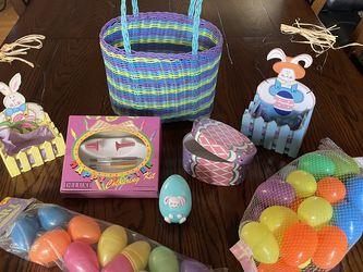 4 Easter Baskets, 38 Plastic Eggs & Coloring Kit for Sale in Santa Clarita,  CA