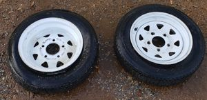 4 80 -12 2 trailer wheels $ 10 for all 3 for Sale in Hesperia, CA
