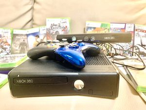 Xbox 360 with controllers games, motion sensor and HDI cable. for Sale in Miami, FL