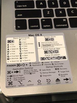 Apple MacBook Pro or Air iMac MacOs shortcuts -very handy-durable vinyl sticker for Sale in Bay City, MI