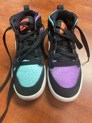 Nike Air Jordan 1 Mid - Toddler Size 11 - Black Multi- Color/Reflective Purple/Black/Green for Sale in Highland, CA