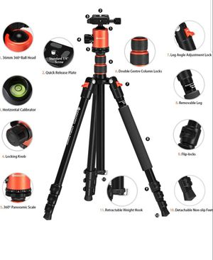 GEEKOTO 77'' Tripod, Camera Tripod for DSLR, Compact Aluminum Tripod with 360 Degree Ball Head and 8kgs Load for Travel and Work New for Sale in Silver Spring, MD