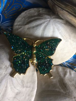 Vintage Articulated green glitter Butterfly brass metal pin brooch for Sale in Sacramento, CA