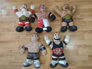 "Lot Of 5 WWE Rock, Cena, Rey Wrestling Brawlin Buddies 16"" Plush Toy Talking for Sale in San Jacinto, CA"