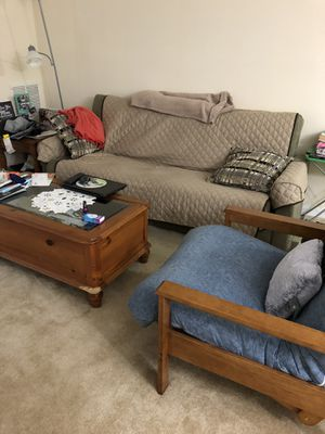 A year old full size mattress, sleeper sofa and chair with ottoman and coffee tabs for Sale in Laurel, MD