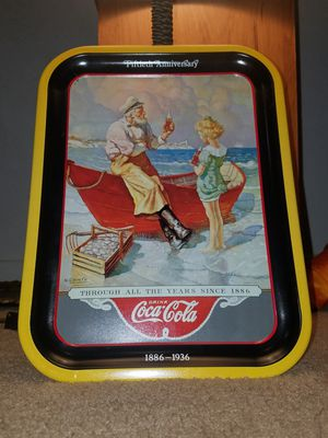 Coca Cola Sea Captain, N.C Wyeth, metal tray, 1987 from Calendar art of 1936. 50th Anniversary tra for Sale in Fairfax, VA