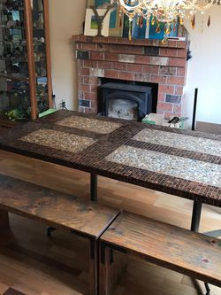 Dining Table - Reclaimed Wood Door/Copper Tiles for Sale in Vancouver,  WA
