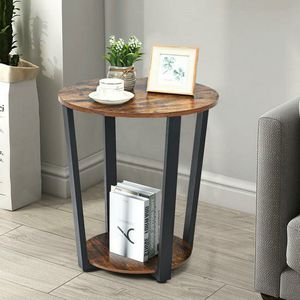 22.5 in. Retro Brown Industrial End Table Metal Frame for Sale in Cutler, CA