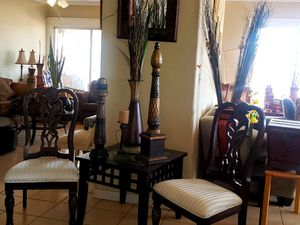 2 excellent beautiful gorgeous chairs and vase for decor $75 for Sale in Phoenix, AZ
