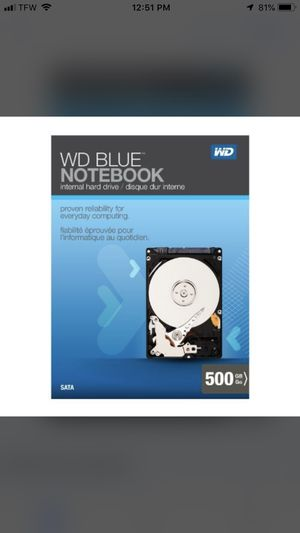 WB Blue Notebook 500GB SATA 3.0 FB/s 2.5-inch Internal Notebook Internal Hard Drive Retail Kit for Sale in White Bluff, TN
