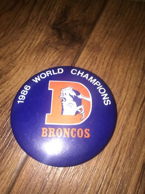 Denver Broncos error button 1986 world champs for Sale in Colorado Springs, CO