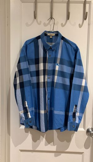 Burberry Blue and Navy Striped Button Up for Sale in Takoma Park, MD