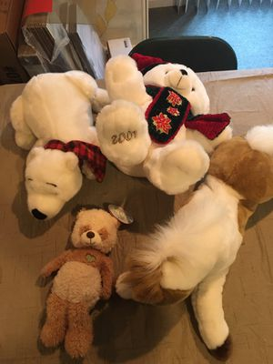 Four new Plush stuffed animals horse teddy bear Christmas for Sale in Rochester Hills, MI