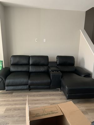 Black Leather Sectional Couch for Sale in Clovis, CA