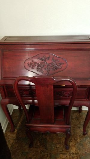 Solid rosewood secretary desk and chair for Sale in Harker Heights, TX