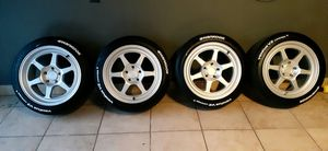 New set of wheels with tires 5x114.3 17x9.5 +30 for Sale in Chicago, IL