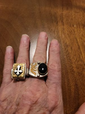 2 big heavy 925 silver rings for Sale in Arnold, MO