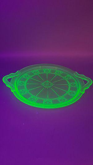 Green Depression Uranium Glass Cake Plate 2 Handle Tray for Sale in Phoenix, AZ