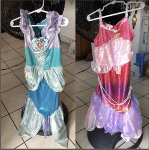 Both Size 4-6 Mermaid play dress up for Sale in Riverside, CA