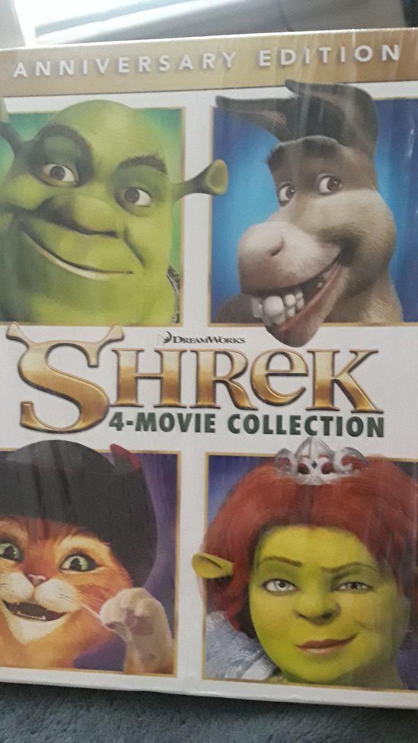 Shrek 4-movie collection on blu ray.