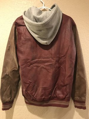 Forever 21 Men 2 Tone Leather/Hoodie Jacket Size M for Sale in Littleton, CO