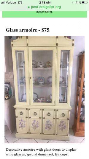 Antique wood glass door armoire for Sale in Boynton Beach, FL