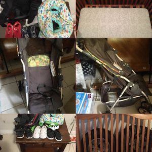 Baby boy clothes, shoes, a stroller and a crib for Sale in Sebring, FL