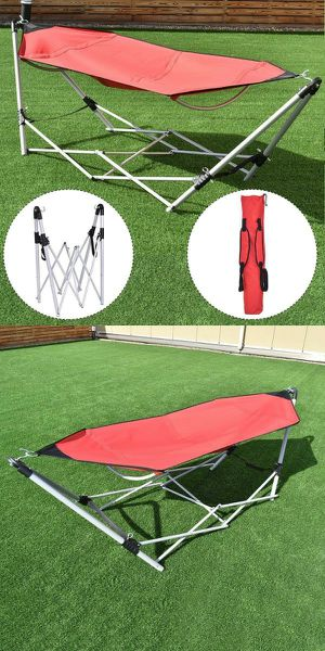 New Portable Foldable Steel Frame Hammock Outdoor Camping Hammock with Carrying Bag 264 lbs Capacity 95x32x29 inches 19 lbs for Sale in Pico Rivera, CA