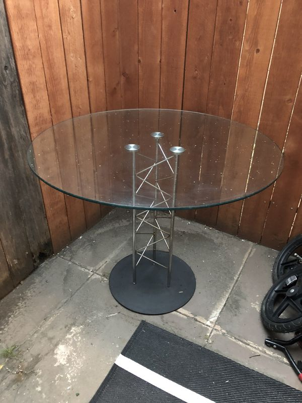 Round Glass Table (Inside or Outside)