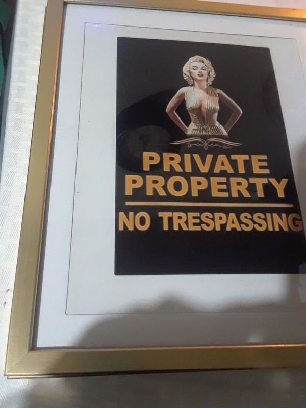 2 photos 8x10 Private Property sign $20.00 cash only
