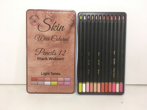 Black Widow Light Skin Tone Colored Pencils Set of 12 For Adults and Drawing NEW for Sale in Glendora, CA