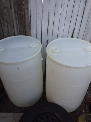 2-- WHITE PLASTIC DRUM CONTAINERS for Sale in Tampa, FL