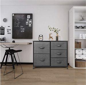 Seseno 5 Drawer Dresser Organizer Fabric Storage Chest (Black/Gray) for Sale in Porter Ranch, CA