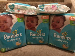 Pampers (size 3) and wipes baby bundle - Clarkston/Tucker/Stone Mountain area - SOLD EXACTLY AS PICTURED - NO HOLDS OR SUBSTITUTIONS for Sale in Tucker, GA