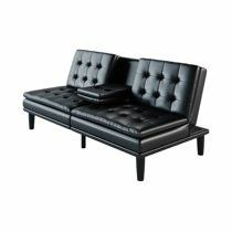 Mainstays Memory Foam Faux Leather PillowTop Futon with Cupholder, Black Faux Leathe. Factory sealed in box for Sale in Los Angeles, CA