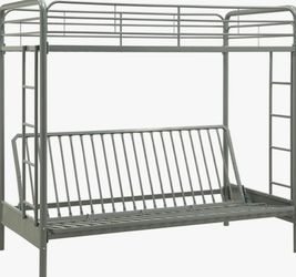 DHP Twin-Over-Futon Convertible Couch&Bed W/Metal Frame&Ladder, Silver for Sale in Groveport,  OH