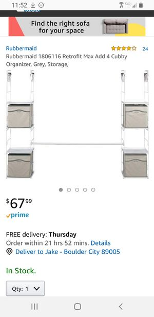 Rubbermaid Closet Organizer Add a Cubby - Boulder City for Sale in Boulder City, NV