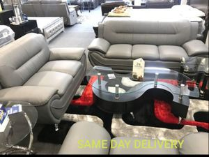 SAME DAY DELIVERY💐ENNA GRAY LEATHER SOFA AND LOVESEAT for Sale in Annapolis Junction, MD