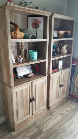 Rustic Tall shelf set with cabinets belw for Sale in Henderson, NV