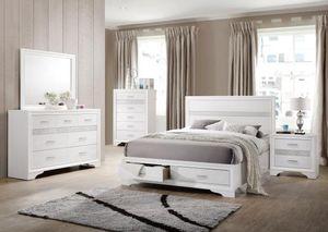 4PC QUEEN BEDROOM SET: QUEEN BED FRAME, DRESSER, MIRROR, NIGHTSTAND--MIRANDA WHITE for Sale in North Highlands, CA