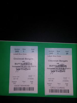 2 tickets to the home opener vs Cincinnati for Sale in Buffalo, NY